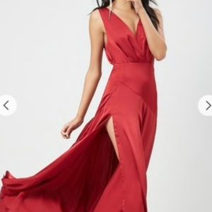 Satin Surplice ruby red dress with high slit